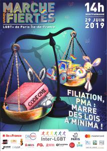 Affiche Marche des fiertés LGBT+ 2019 Paris Île-de-France