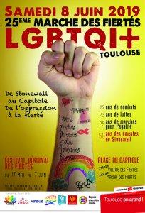 Affiche 25e Marche des fiertés LGBTQI+ 2019 Toulouse